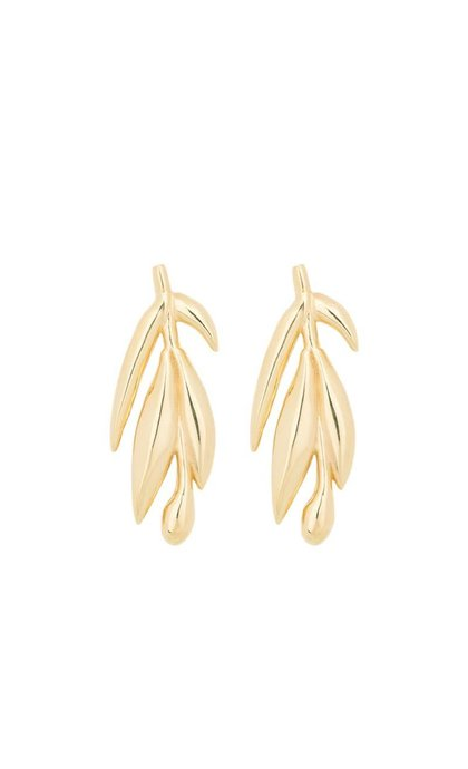 Anna + Nina Banana Leaf Earring Brass Goldplated