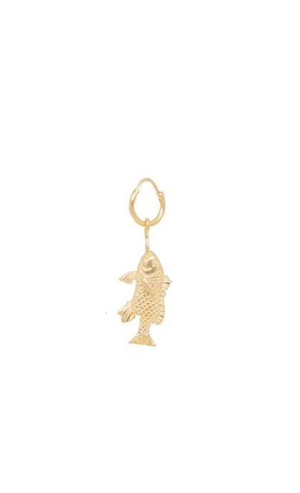 Anna + Nina Single Fish Ring Earring Silver Goldplated