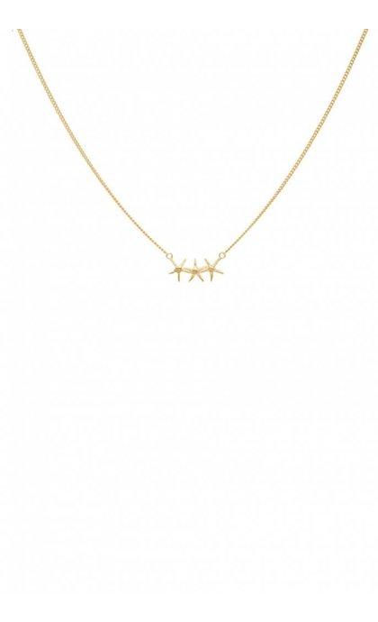 Anna + Nina Starfish Trio Necklace Goldplated