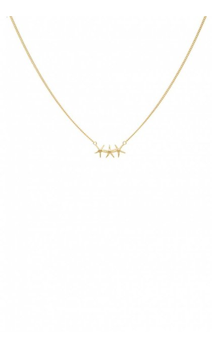 Anna + Nina Starfish Trio Necklace Silver Goldplated