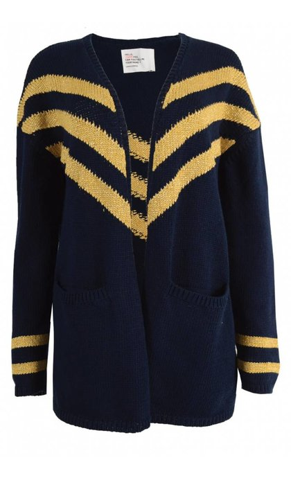 Leon and Harper Meggy Cardigan Gold Navy