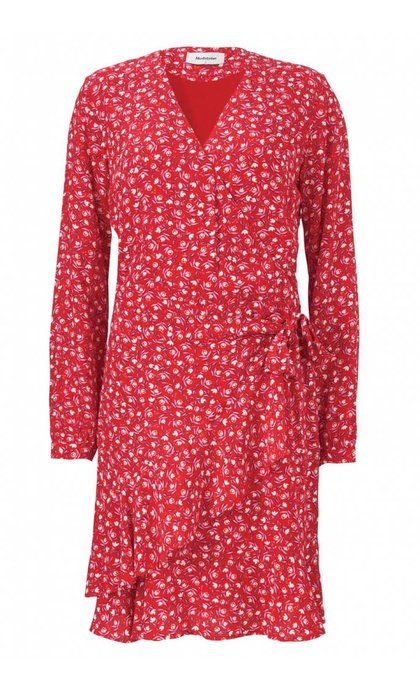 Modstrom Gabriella Print Wrap Dress Micro Flower Red