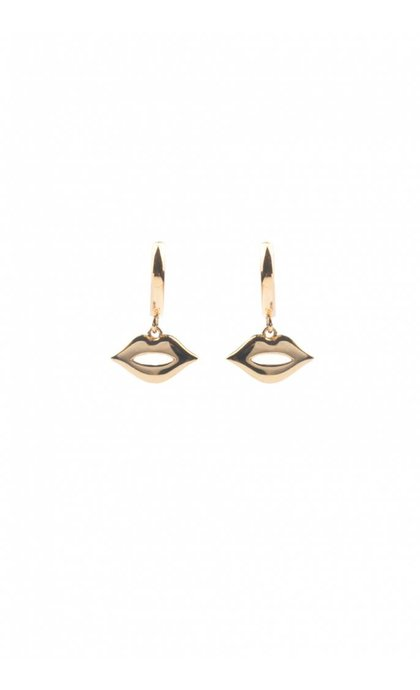 All the Luck in the World Souvenir Earrings Lips Goldplated