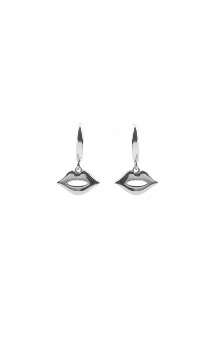 All the Luck in the World Souvenir Earrings Lips Silverplated