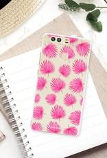 Huawei Huawei P9 Handyhülle - Rosa Blätter
