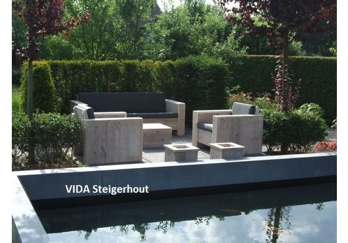 Loungeset 1 Bank 2 Stoelen.Tuinmeubelen Vidasteigerhout Be