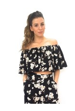 Off shoulder top Black small flowers