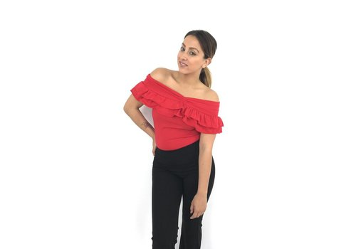 Off shoulder top ruffle red