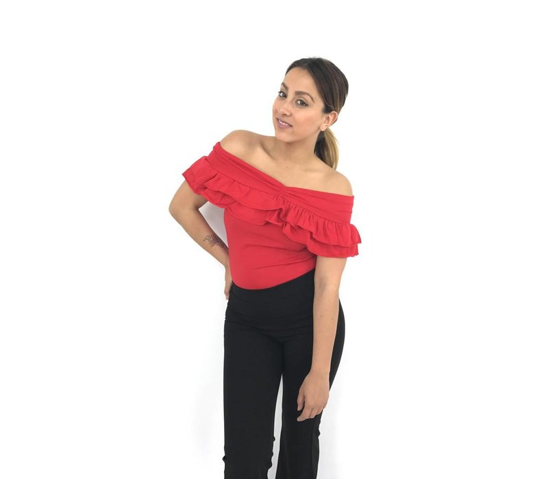 Off shoulder top ruffle red MC4485#