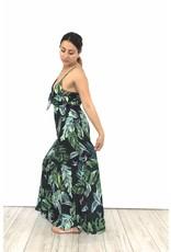 Black long dress green leaves 5604LR