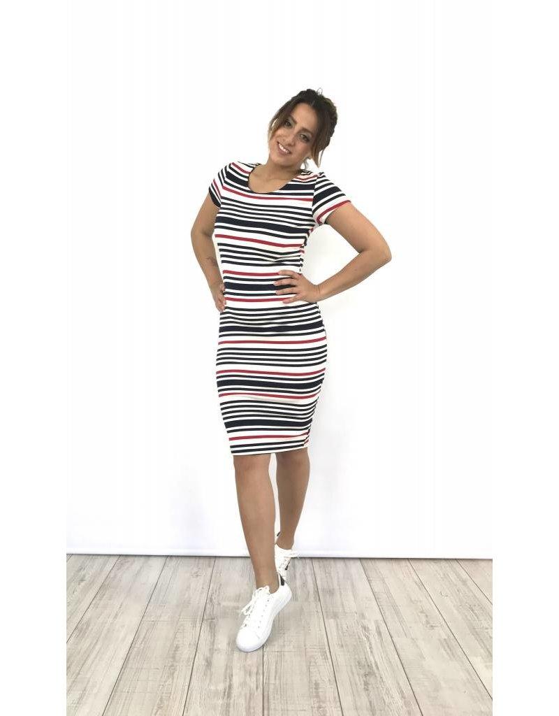 White dress black/red stripes 1630