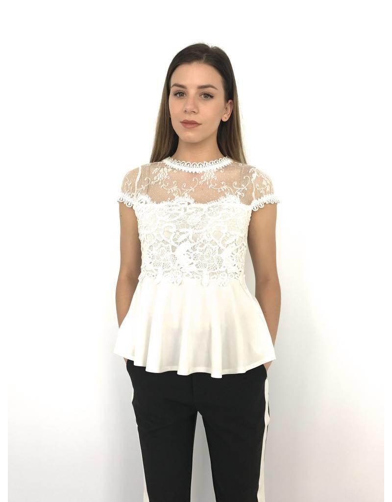 Top Lace Peplum White LX1057
