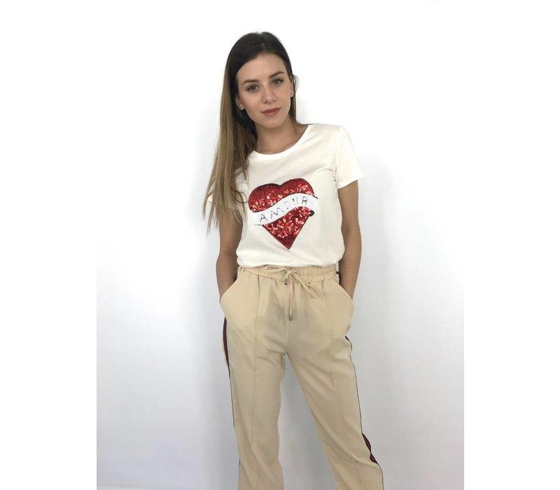 White T-shirt heart 9020