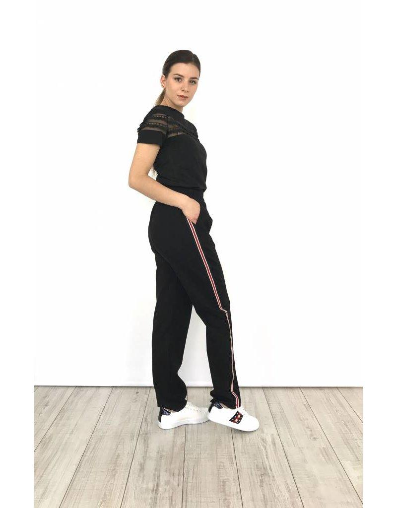 Black track pants white/red stripe 1991