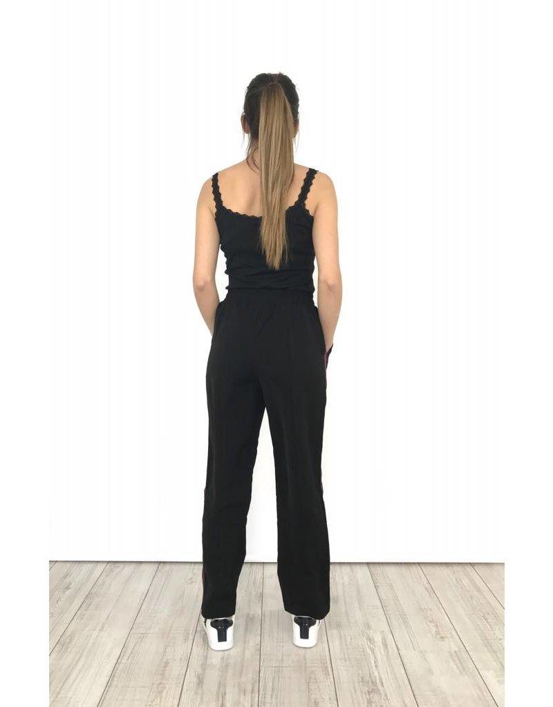 Track pants black blue/red stripes