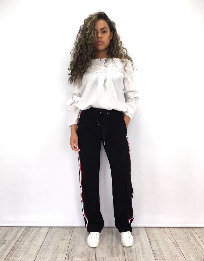 Track Pants Black R/W/B stripe