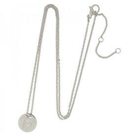 Necklace coin P -silver-