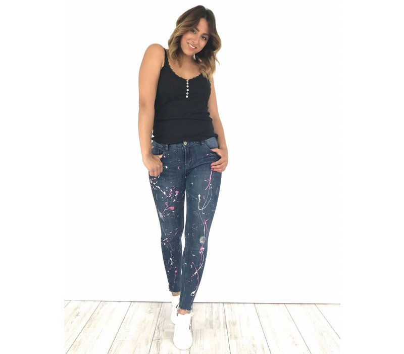 Jeans white/pink spots