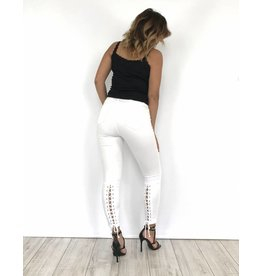 White jeans lace back 9177.B