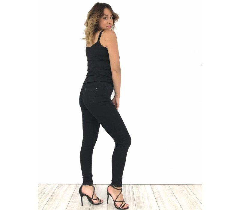 Black jeans high waist YH255-1