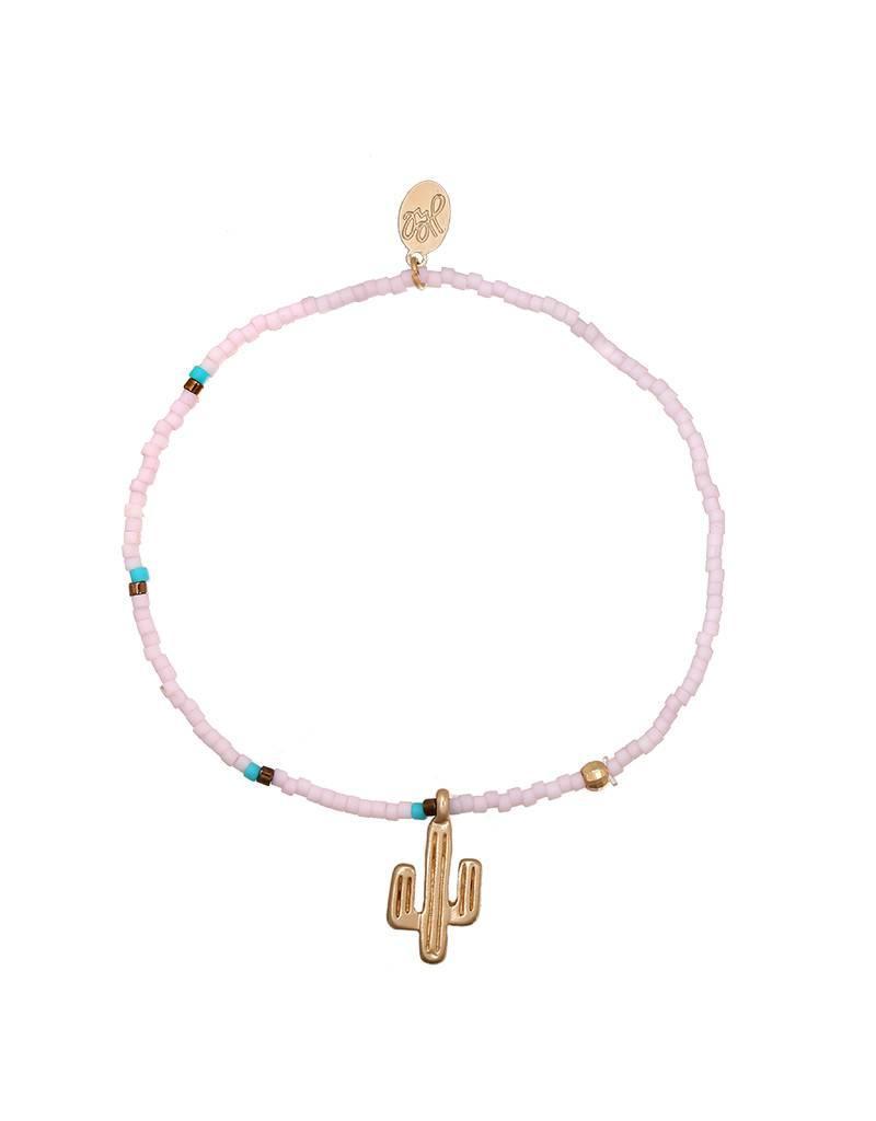 Armband gold cactus pink