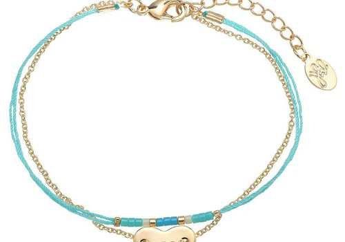 Armband heart on string gold blue