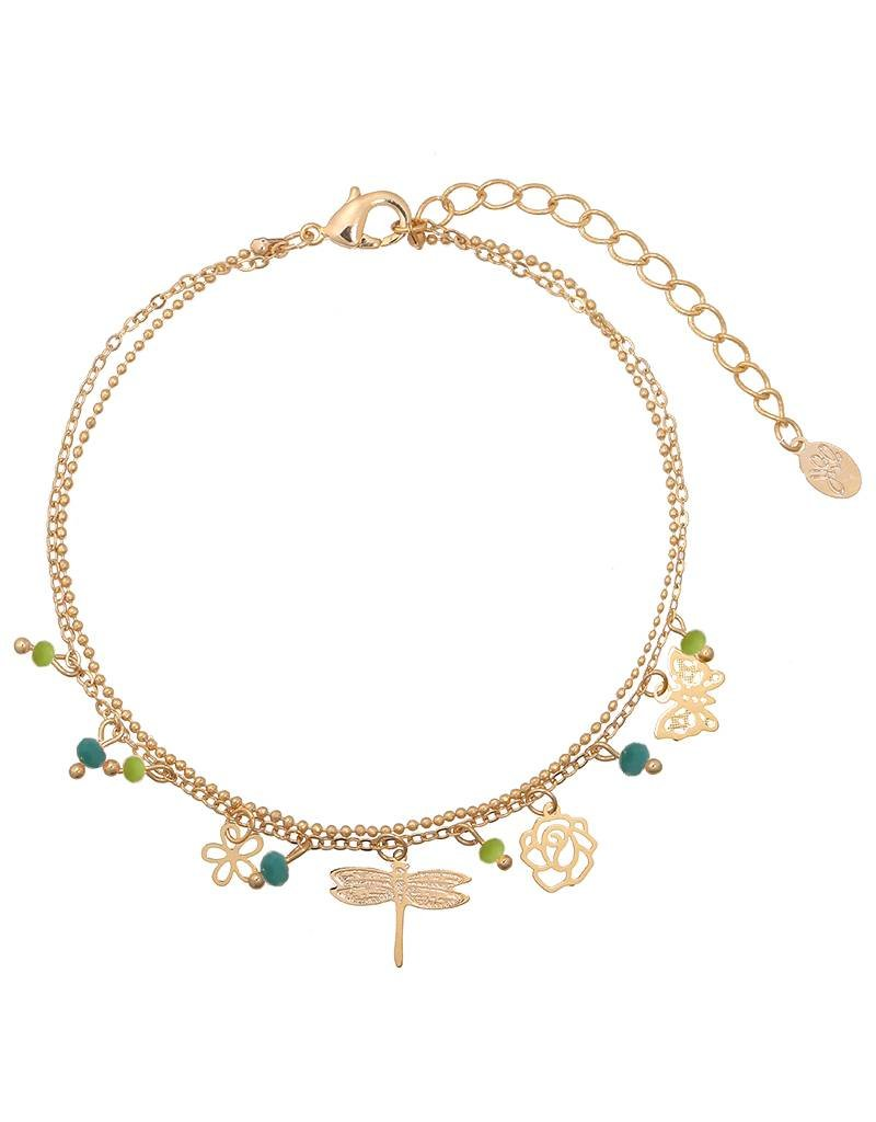 Enkelbandje tiny beads & spring vibes green