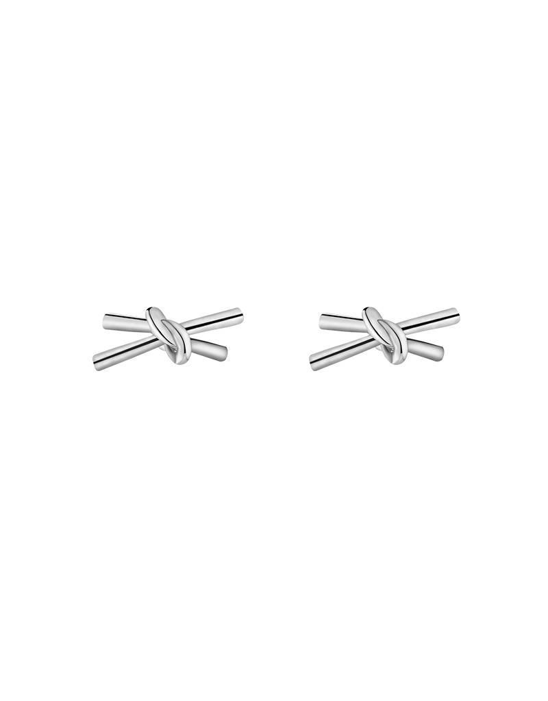 Oorbellen double knot silver