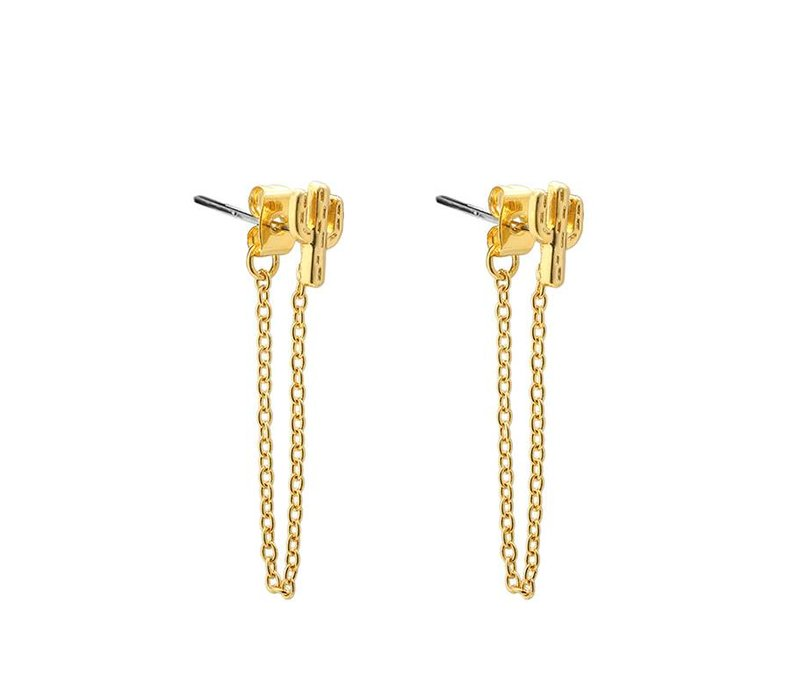Oorbellen cactus chain long gold