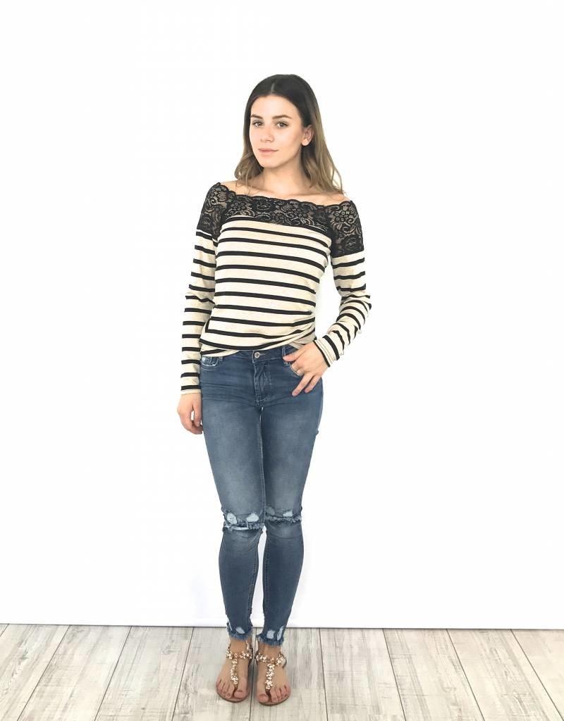 Shirt Beige stripe bl lace