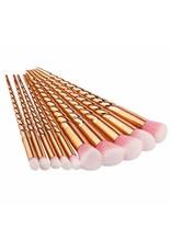 Rose gold unicorn makeup brushes set