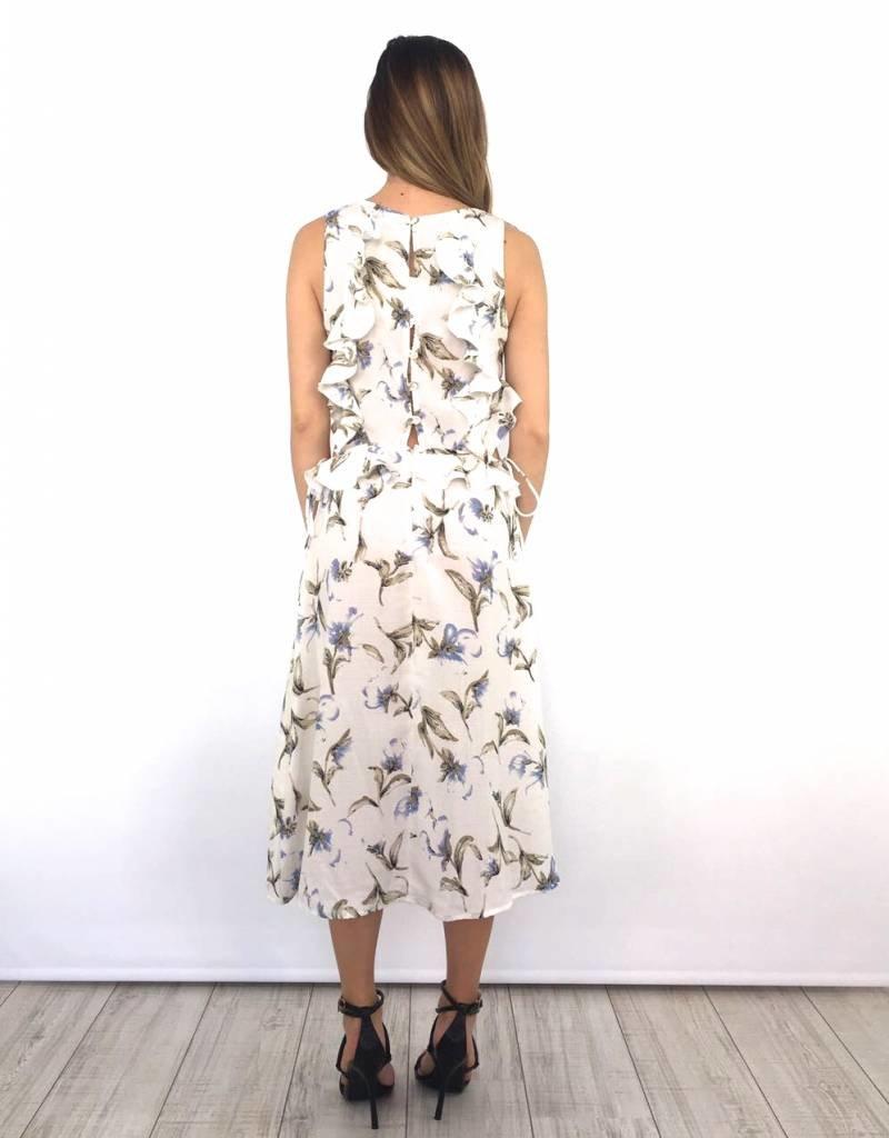 White long flower dress cut out waist