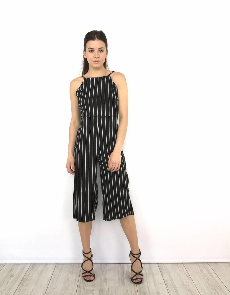 Playsuit Black culotte stripes