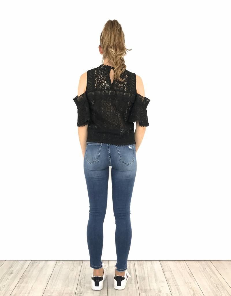 Lace top cold-shoulder