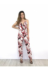 White jumpsuit red leaves