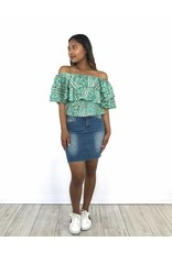 Turquoise off shoulder top print