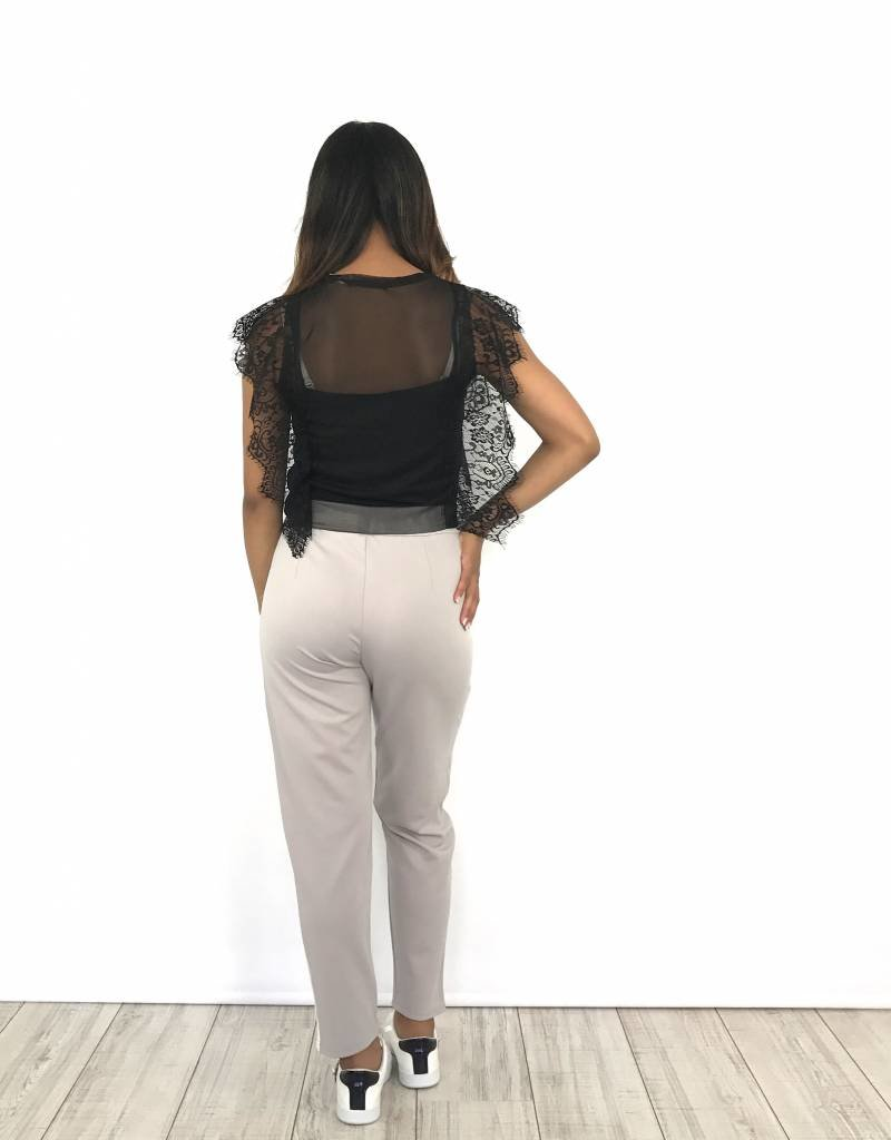 Lila pantalon white stripe