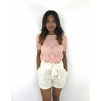 Pink lace top flowers 8959