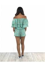 Turquoise off shoulder playsuit print