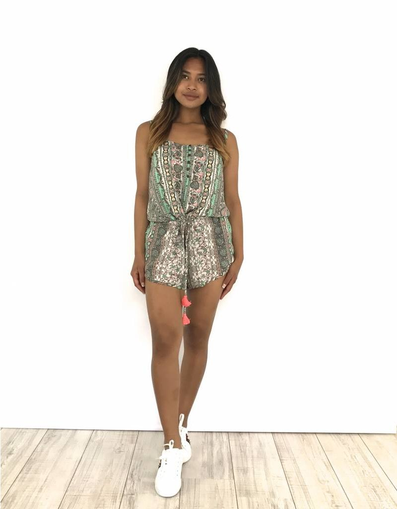 Turquoise/grey/pink playsuit