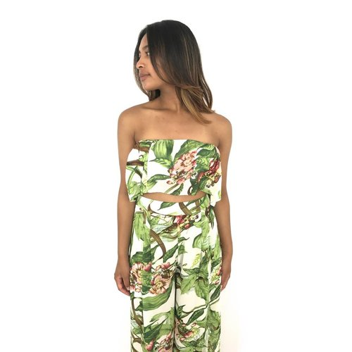 Vera & Lucy White top green leaves