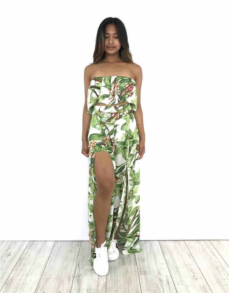 White pantalon green leaves split