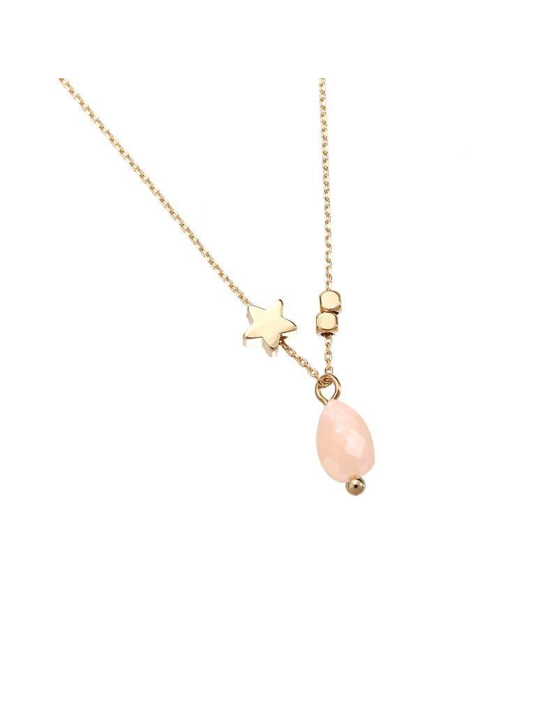 Ketting tiny star & stone pink