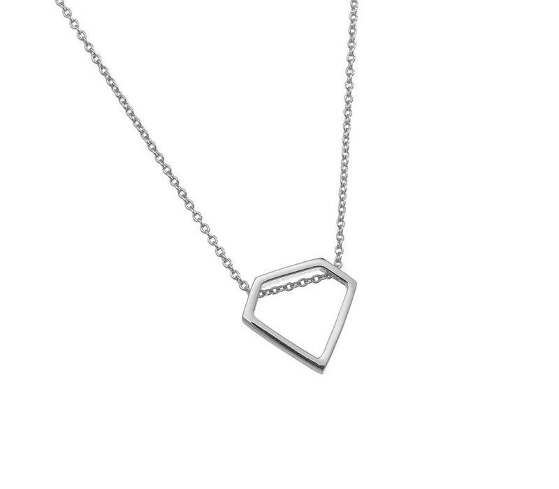 Ketting minimalist diamond long silver