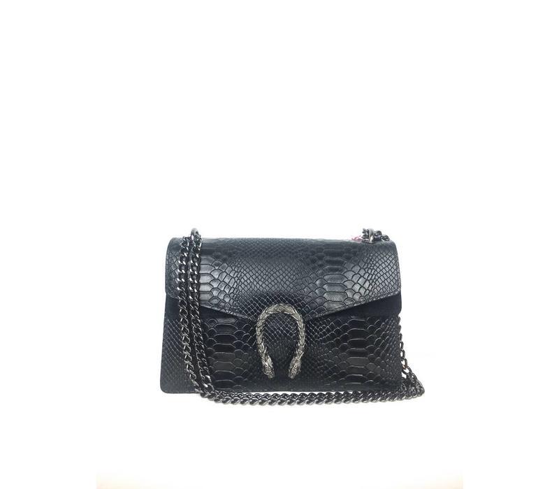 Big black snake leather bag 28 X 19