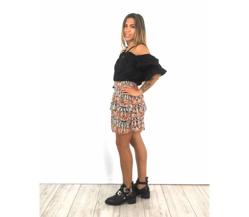 Ecru skirt red/blue print