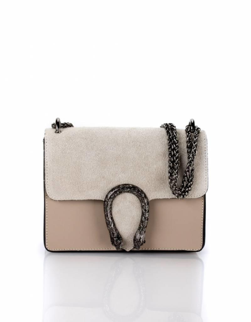 Beige leather bag 21 X 16
