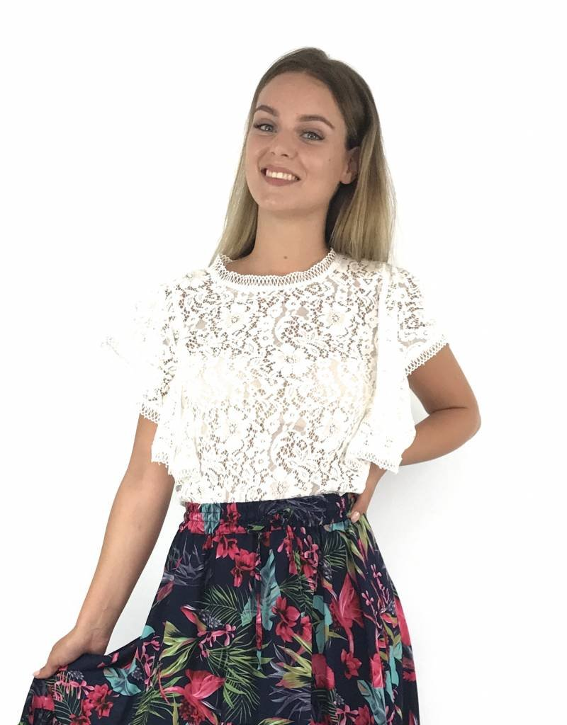 White cute lace top H662
