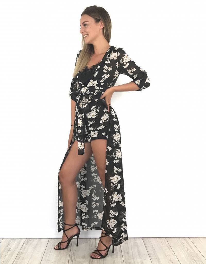 Black festival playsuit white flowers