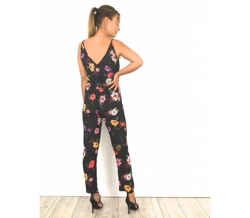 Black jumpsuit colorful flowers